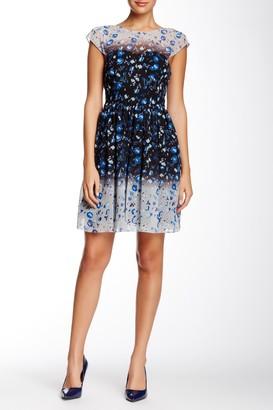 Betsey Johnson Flutter Sleeve Reverse Print Dress