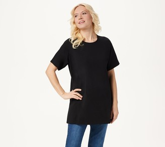 Denim & Co. Jersey Round-Neck Elbow-Sleeve Oversized Tunic