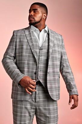 BoohoomanBoohooMAN Mens Black Big & Tall Skinny Fit Prince Of Wales Blazer, Black