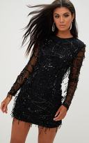 PrettyLittleThing Black Sequin Detail Long Sleeve Mini Dress