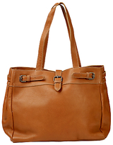 Fat Face Three Buckle Leather Tote Bag, Tan