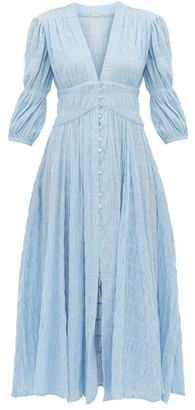 Cult Gaia Willow Ruched Cotton Blend Maxi Dress - Womens - Blue