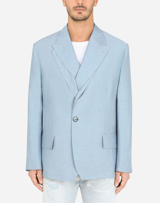 Dolce & Gabbana Linen Jacket With Double Construction