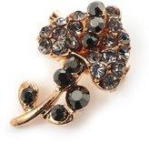 Avalaya Tiny Black Crystal Calla Lily Pin Brooch (Gold Tone)