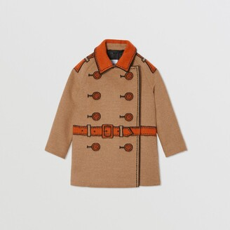 Burberry Childrens Trompe L'Oeil Wool Jacquard Coat