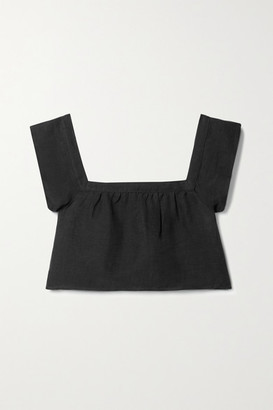 Anemos Net Sustain The Flutter Cropped Linen And Cupro-blend Top - Black