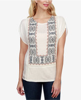 Lucky Brand Embroidered Mixed-Media Top