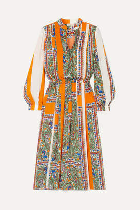 Tory Burch Pleated Printed Voile Midi Dress - Orange