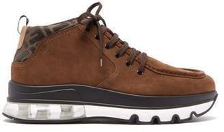 Fendi Exaggerated Sole Suede Lace Up Boots - Mens - Brown Multi