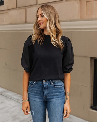 The Drop Women's Black Combined Fabric Pleated Puff-Sleeve Top by @fashion_jackson XXS