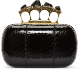 Alexander McQueen Black Snakeskin Knuckle Box Clutch