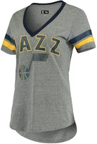G Iii Women's G-III 4Her by Carl Banks Gray/Navy Utah Jazz Walk Off Crystal Applique Logo V-Neck Tri-Blend T-Shirt
