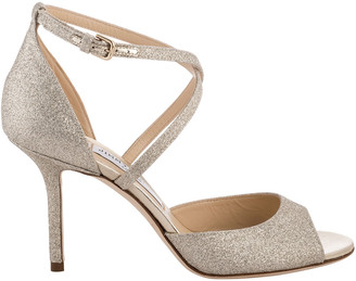 Jimmy Choo Emsy Glitter Crisscross Cocktail Sandals