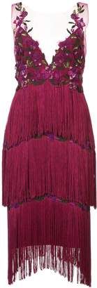 Marchesa Embroidered Fringed Dress