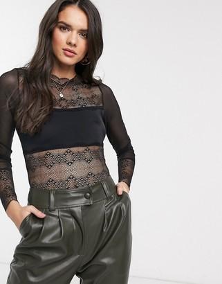 Vila lace paneled thong bodysuit