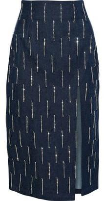 16Arlington Crystal-embellished Fringed Denim Midi Pencil Skirt