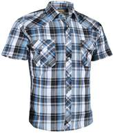 Coevals Club Men's Casual Plaid Snap Front Short Sleeve Shirt (Blue / white , XL)