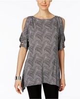 Cable & Gauge Geo-Print Cold-Shoulder Top