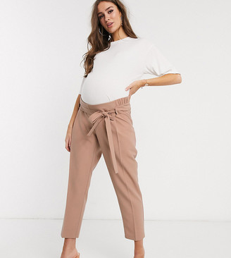 ASOS DESIGN Maternity tailored tie waist tapered ankle grazer trousers