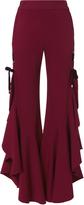 Jonathan Simkhai Burgundy Grommet Ruffle Pants