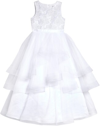 Us Angels Embroidered Bodice Tulle Communion Dress