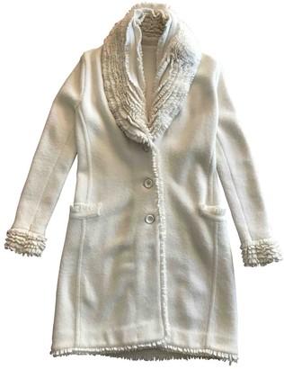 Ermanno Scervino Ecru Wool Coat for Women