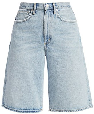 AGOLDE Lennox High-Rise Wide-Leg Denim Culotte Shorts