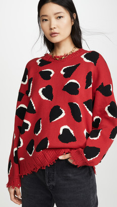 R 13 Hearts Oversized Sweater