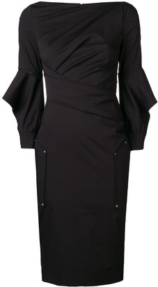 Talbot Runhof Ruffle Sleeve Fitted Dress
