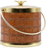 One Kings Lane Vintage Midcentury Brass & Leather Ice Bucket - brown/gold