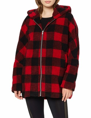 Urban Classics Women's Ladies Hooded Oversized Check Sherpa Jacket