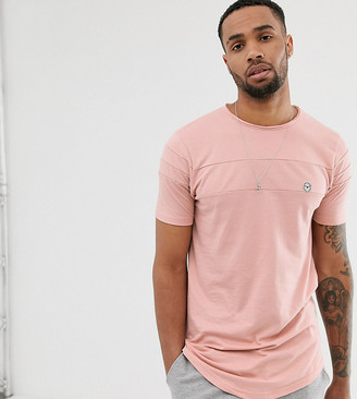 Le Breve Tall cut and sew longline curved hem t-shirt-Pink