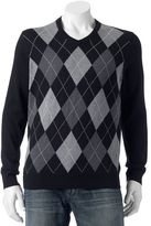 Croft & Barrow Men's Classic-Fit Argyle 12gg V-Neck Sweater