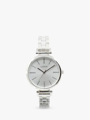 Lorus Women's Crystal Bracelet Strap Watch, Silver/White RG235QX9