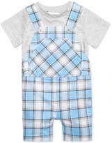 First Impressions 2-Pc. T-Shirt & Plaid Overall Set, Baby Boys (0-24 months), Created for Macy's