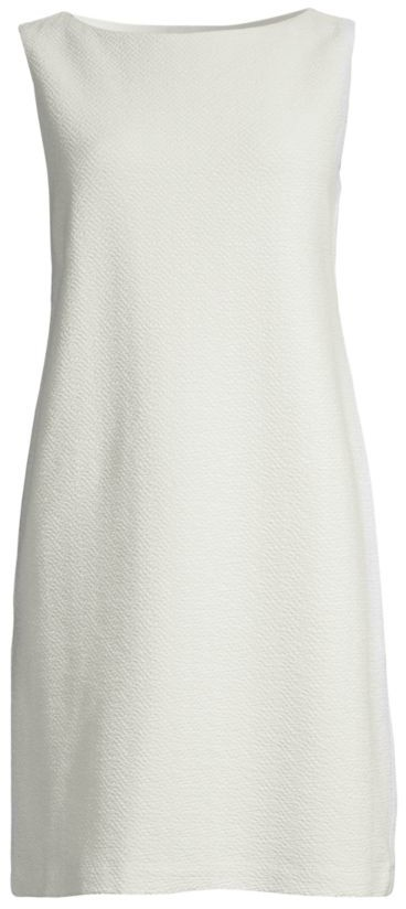 Eileen Fisher Sleeveless Textured Stretch-Cotton Shift Dress