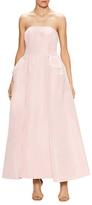 Oscar de la Renta Silk Pleated Tea Length Ball Gown