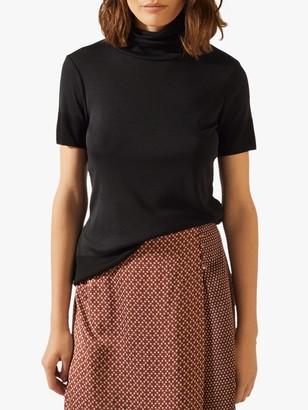 Jigsaw Short Sleeve Jersey Polo Top, Black