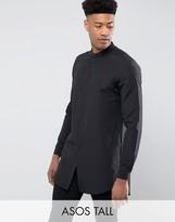 Asos TALL Regular Fit Super Longline Shirt With Grandad Collar In Black