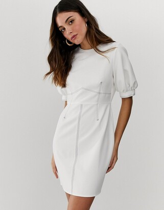 Asos Design DESIGN contrast stitch mini dress with puff sleeves-White