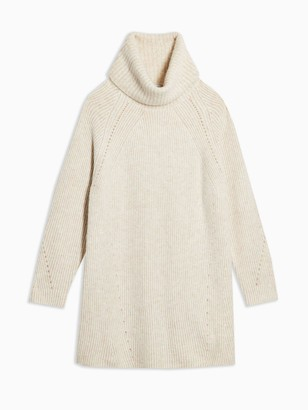 Topshop Chunky Roll Neck Knitted Jumper Dress - Oat