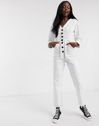 ASOS DESIGN denim jumpsuit in white with contrast stitch