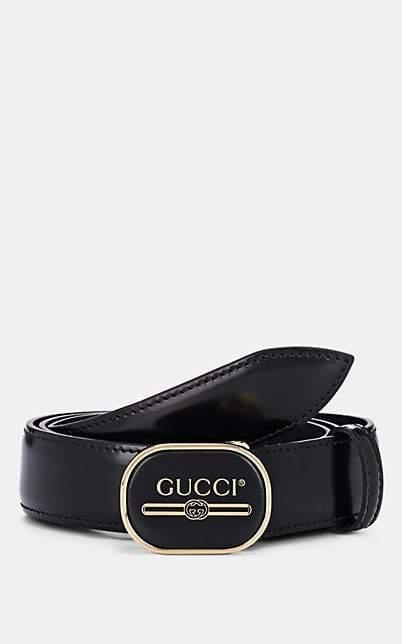 Men\u0027s Logo Buckle Leather Belt , Black