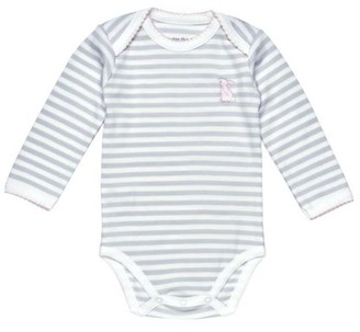 Under the Nile Baby Girl Long Sleeve Lap Shoulder Babybody Size 0-3M Grey Stripe with Pink Bunny Organic Cotton