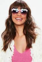 Missguided Purple Flower Detail Heart Sunglasses, Purple