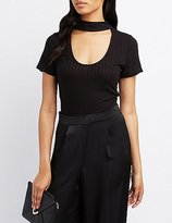Charlotte Russe Ribbed Choker Neck Top
