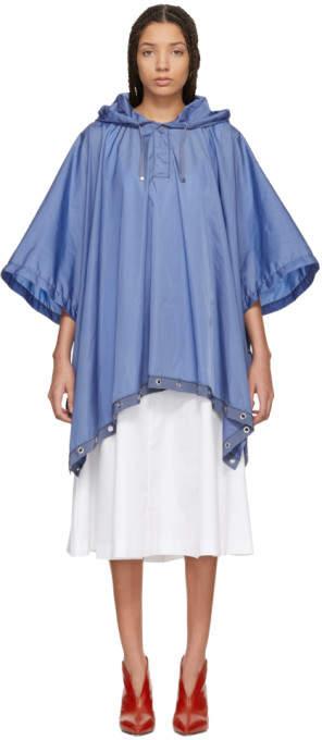 Moncler Blue Hooded Grommet Poncho