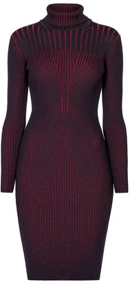 Rumour London Cleo Black Two-Tone Ribbed Knit Dress