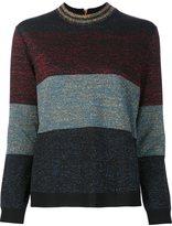 Nude striped metallic jumper - women - Acrylic/Polyamide/Polyester/Wool - 44