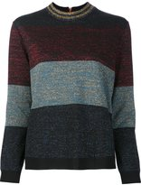 Nude striped metallic jumper - women - Wool/Acrylic/Cupro/Polyamide - 44